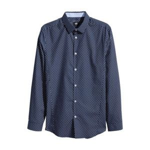 NEW H&M Slim Fit Long-Sleeved Button Down Shirt